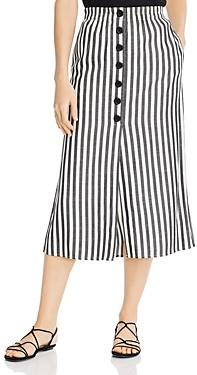 Cupcakes And Cashmere Sandrine High-Waist Yarn Dye Striped Button-Down Midi Skirt