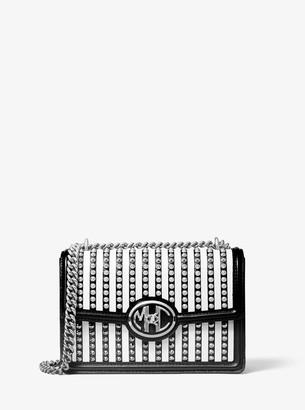 Michael Kors Monogramme Studded Striped Leather Chain Shoulder Bag