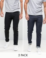 Asos Skinny Jeans 2 Pack In Black & Raw Blue SAVE