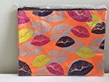 "Nordstrom ""Hot Lips"" Neon Orange Nylon Cosmetic Bag"