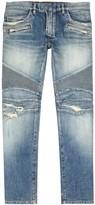 Balmain Light Blue Distressed Slim-leg Biker Jeans