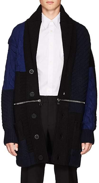 Alexander McQueen Men's Zip-Detail Mixed-Knit Wool Cardigan