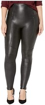Spanx Plus Size Faux Leather Hip-Zip Leggings (Very Black) Women's Casual Pants