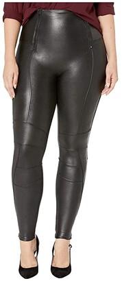 Spanx Plus Size Faux Leather Hip-Zip Leggings (Very Black) Women's Casual Pants