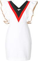MSGM V-neck ruffled dress - women - Cotton/Polyamide/Polyester/Spandex/Elastane - 38