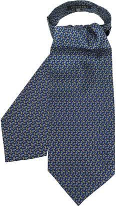 Forzieri Blue & Yellow Paisley Printed Twill Silk Ascot Tie