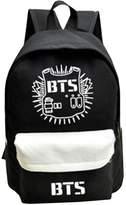 Partiss Unisex BTS Print Canvas Fashion Starry Sky Cartoon Schoolbag Backpack