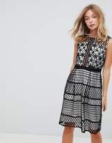 Liquorish Contrast Crochet Skater Dress