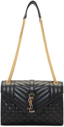 Saint Laurent Black Medium Mix Matelasse Envelope Bag