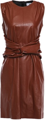 MSGM Twist-front Ruched Faux Leather Dress