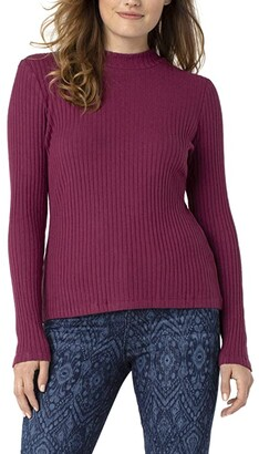 Liverpool Mock Neck Long Sleeve Ribbed Tee (Dried Plum) Women's Clothing