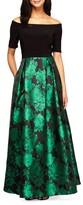 Alex Evenings Women's Rose Print Off The Shoulder Gown