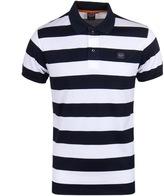 Paul & Shark Block Stripe Navy & White Short Sleeve Polo Shirt