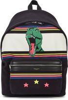 Saint Laurent Printed Black Canvas Backpack