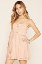 Forever 21 FOREVER 21+ Strapless Crisscross Lace Dress