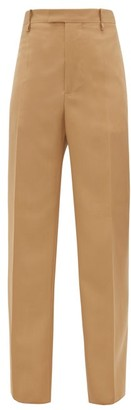 Bottega Veneta High-rise Wool-twill Straight-leg Trousers - Womens - Camel