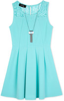 Amy Byer Lace-Detail Fit & Flare Dress & Necklace Set, Big Girls (7-16)