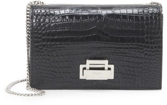 Saint Laurent Croc-Embossed Leather Shoulder Bag