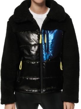 Andrew Marc Mixed-Media Fleece Puffer Coat