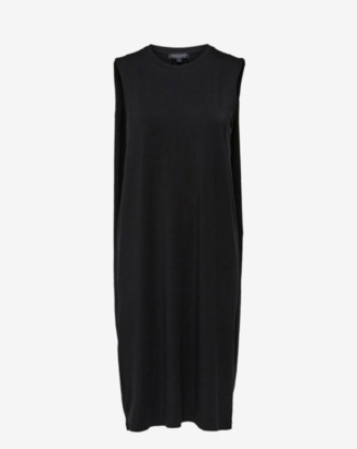Selected Black Sleeveless Midi Dress - S