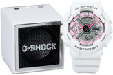 G-Shock Women's Analog-Digital S-Series White Resin Strap Watch & Bluetooth Speaker Gift Set 46x49mm GMAS110MP7GB