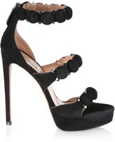 Alaia Bombe Ankle-Strap Suede Platform Sandals