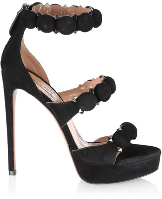 Alaia Bombe Ankle-Strap Suede Platform Sandals