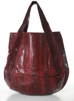 Beirn Ruby Red Water Snakeskin Large Jenna Hobo Tote Handbag New