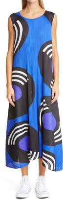Pleats Please Issey Miyake Record Print Pleated Swing Dress