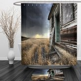 Vipsung Shower Curtain And Ground MatRustic Decor Dated Wooden Farmhouse in Field in Cloudy Thunderstorm Day in Canada Photo Decor MultiShower Curtain Set with Bath Mats Rugs