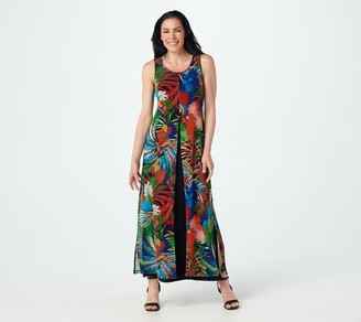 Women With Control Attitudes by Renee Regular Como Jersey & Printed Mesh Maxi Dress