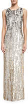 Jenny Packham Sleeveless Sequined Burnout Gown, Dawn Gold