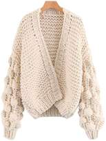 'Abbey' Hand-knitted Pom Pom Sleeve Chunky Cardigan - Cream White