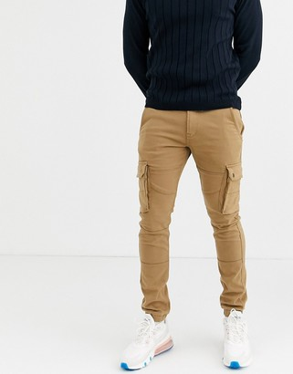 Celio cargo trousers in tan
