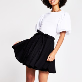 River Island Womens Black full hem mini Tennis skirt