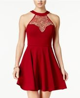 B. Darlin Juniors' Embellished Illusion Fit & Flare Dress, a Macy's Exclusive Style