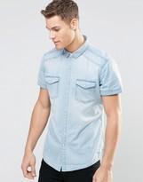 Esprit Short Sleeve Denim Shirt in Light Wash