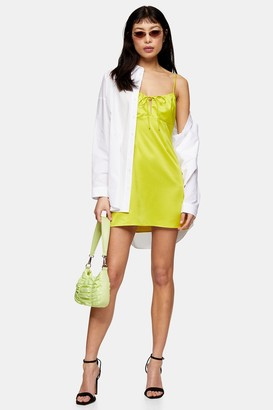 Topshop Womens Petite Neon Yellow Gathered Bust Slip Dress - Yellow