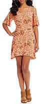 Copper Key Floral Printed Cold Shoulder Wrap Dress
