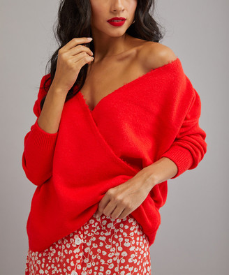 Milan Kiss Women's Pullover Sweaters CORAL - Red Plunge Surplice Sweater - Women