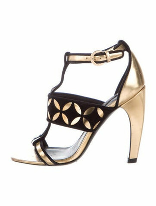 Louis Vuitton Leather Animal Print T-Strap Sandals Gold