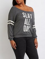 Charlotte Russe Plus Size Slay All Day Graphic Sweatshirt