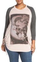 Melissa McCarthy Plus Size Women's Side Ruched Graphic High/low Tee