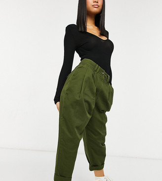 ASOS DESIGN Petite ovoid pleat front peg pants in khaki