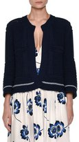 Agnona 3/4-Sleeve Open Swing Cardigan, Blue