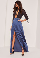 Missguided Blue Satin Split Front Wrap Maxi Skirt