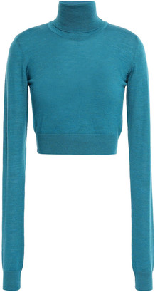 Emilio Pucci Cropped Printed Wool Turtleneck Sweater