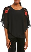 I.N. Studio Short Sleeve Floral Embroidered Applique Popover Top
