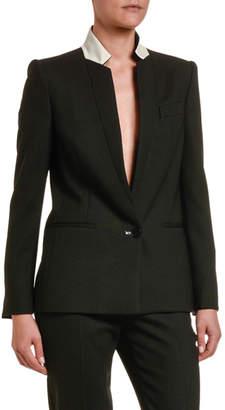Stella McCartney Contrast Stand-Collar Wool Blazer