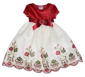 Blueberi Boulevard Toddler Girls Velvet and Embroidered Dress